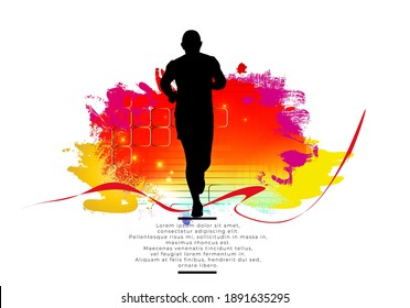 Man jogging to promote good health. Sport background ready for poster or banner, vector.