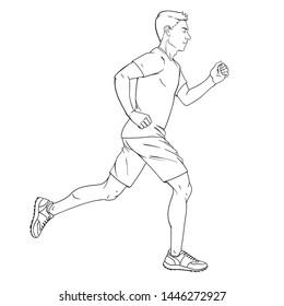 Man jogging vector illustration. Athlete runs. Running marathon. Black and white sketch.