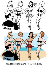 A man judges a bikini contest on a beach.