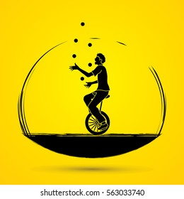 A man juggling balls while cycling graphic vector.