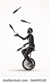 A man juggling pins while cycling designed using black grunge brush graphic vector.
