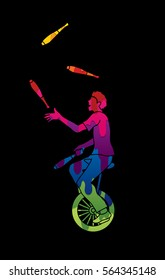 A man juggling pins while cycling designed using melting colors graphic vector.