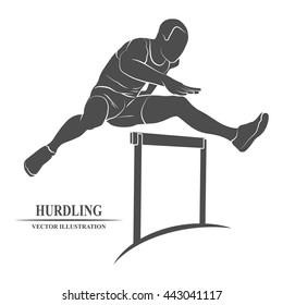 Man jump hurdles