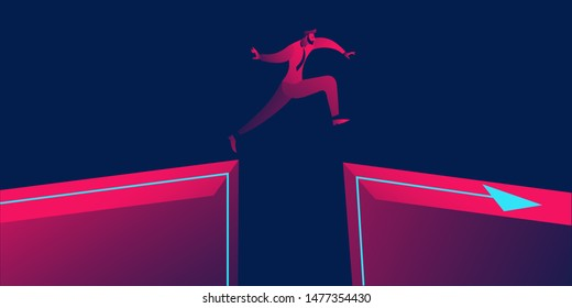 Man jump through the gap between hill.man jumping over cliff . Business concept of courage, bravery, overcome risk. in red and blue neon gradients