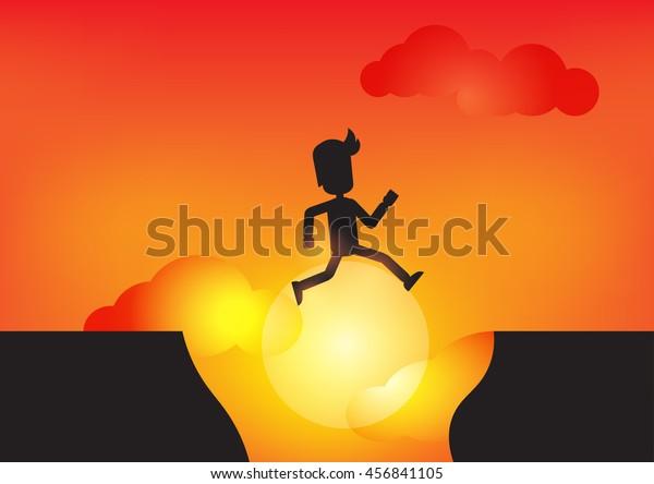Man jumping across hill Silhouette, Vector illustrator