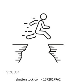 man jumping across the mountain gap icon, life challenge obstacle, jump career barrier, high cliff and people courage, business mission risk, thin line symbol - editable stroke vector illustration