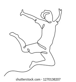 Man jumping in the air continuous line vector illustration