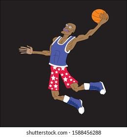 Man Jumping in Air, Playing Basketball