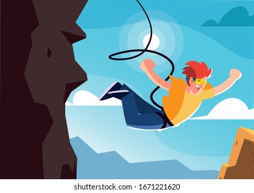 man jumping off with a rope, extreme sport vector illustration design