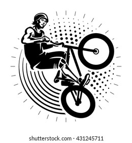 Man jumping on bmx bike performing a stunt. Sport illustration in the engraving style