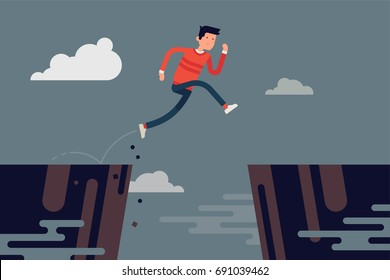 Man jumping over abyss. Cool vector concept illustration on overcoming obstacles with casually clothed running man jumping over abstract precipice