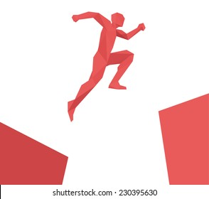 Man jumping over gap, geometric design vector isolated