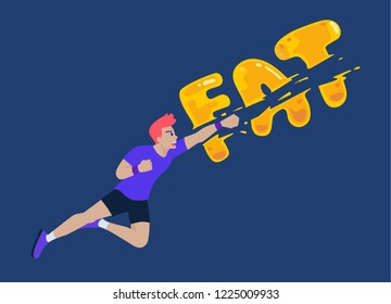 Man jumping and punching a fat wording for destroy. Concept illustration about exercise reduce fatty.