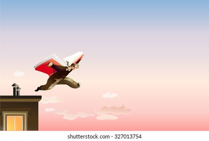 A man jumps off the roof using a book like wings