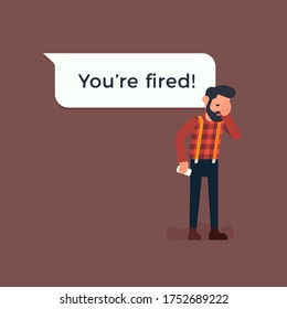 Man just received a message from employer saying he is fired. Unemployment flat vector concept illustration