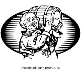 Man With Keg Of Whiskey - Retro Clip Art Illustration