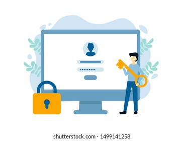 Man with key near computer and account login and password. Vector male character design concept for business. Illustration for landing page, web, poster, banner, layout, template.
