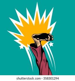 Man kicking comic book pop art, vector illustration