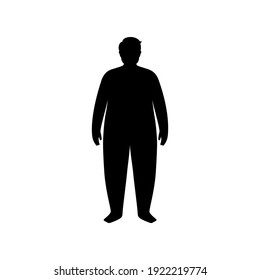 Man or kid silhouette with obese figure. Male persons with overweight. High BMI range. Adult or child character with big fat level. Result of absence diet and healthy lifestyle vector illustration.