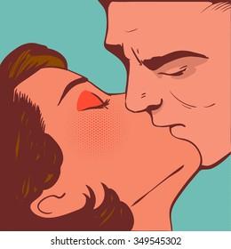 man kiss woman pop art  vector
