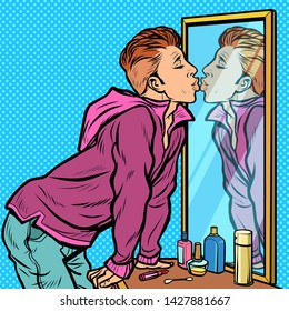 a man kisses his own reflection, narcissism ego selfishness. Pop art retro vector Illustrator vintage kitsch drawing