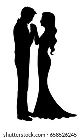 Man kissing hand of woman. Groom and bride. Wedding silhouette
