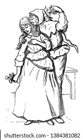A man is kissing her under the Mistletoe. Both are dressed in medieval attire, vintage line drawing or engraving illustration.