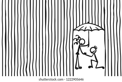 Man knees ask woman with umbrella to marry under heavy rain, Stick figures people romantic relationship, Striped background