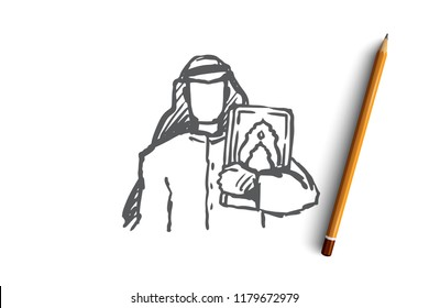 Man, Koran, religion, muslim, arabic, islam concept. Hand drawn young muslim man holds Koran concept sketch. Isolated vector illustration.