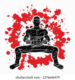Man Kung Fu action ready to fight graphic vector