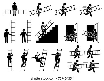 Man with a ladder. Pictogram showing a man holding and carrying a ladder while walking and running. The person also climbing up and down from the ladder.