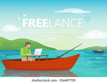 Man with laptop in the boat. Concept of happy worker as a freelancer or creative manager.