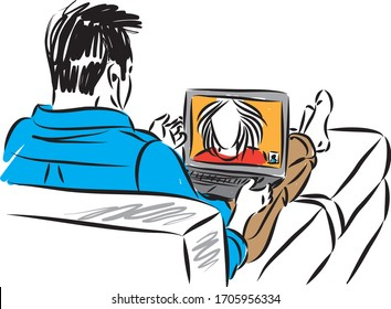 man with laptop camera video communication concept vector illustration
