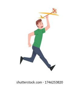 Man Launching Model of Airplane Cartoon Style Vector Illustration on White Background