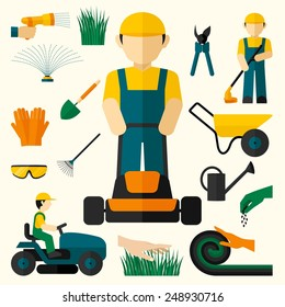 Man with lawn mower and garden equipment decorative icons set isolated vector illustration
