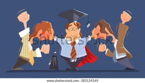 Man Rechtsanwalt zwischen zwei schreien und kämpfen Streitigkeiten kollidieren Menschen Geschäftsleute oder Chef und Angestellte. Farbvektorgrafik.