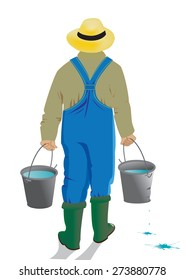 man with a leaky bucket/ The man the gardener bears two buckets with water