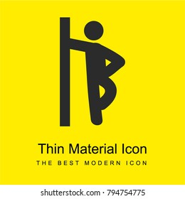 Man leaning against the wall bright yellow material minimal icon or logo design