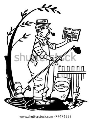 Man Learning Gardening Retro Clipart Illustration Stock Vector