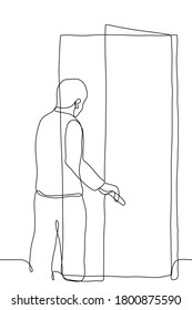 the man leaves the room through the door. One continuous line drawing concept of leaving, dismissal, business / project completion, retirement, parting