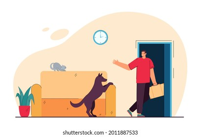Man leaving house and his pet alone. Flat vector illustration. Dog seeing off his master leaving house with suitcase in hand. Devotion, waiting, separation, care, responsibility, animal, pet concept