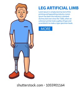 Man with a leg artificial limb.Young Person sport prostheses. Cartoon character flat line art vector. Isolated on white.The guy who has overcome disability.