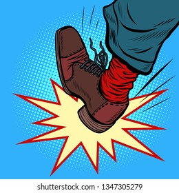 man leg kick anger aggression. Comic cartoon pop art retro vector illustration drawing