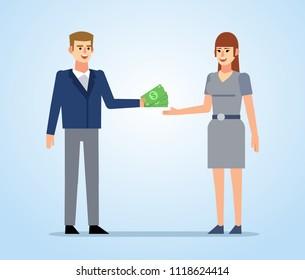 Man lends money to woman. Give, pay, return money, debt. Flat design vector illustration