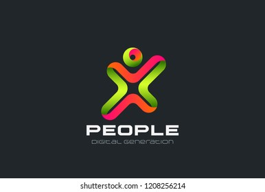Man as Letter X Logo design Sport Fitness Gym club vector template Ribbon style concept icon.