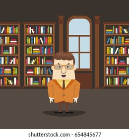 Man in the library. Library interior with books. Flat design