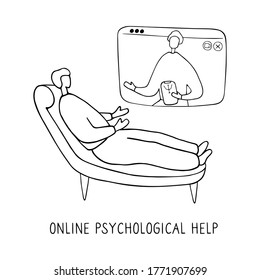 Man lies on couch and pours out his soul to psychologist through video communication. Online psychotherapy practice. Remote psychological help, psychiatrist consulting patient. Mental health care