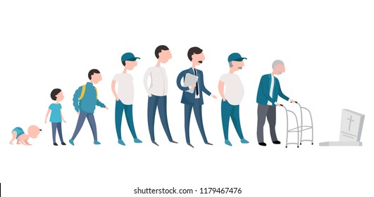 Man life cycle from birth to death. Man in different times of his life. Vector isolated illustration.