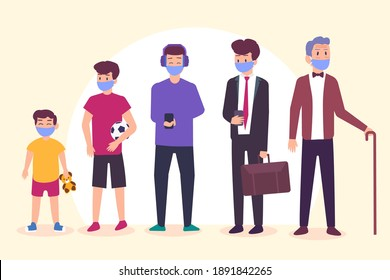 Man life cycle from toddler to elderly man 2D flat vector concept for banner, website, illustration, landing page, flyer, etc.