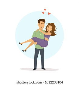 man lifting woman, carrying girlfriend in arms, funny romantic couple vector illustration